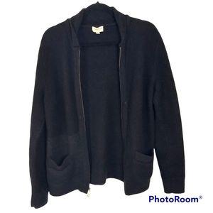Club Monaco Men's Black Wool Zip Up Sweater Cardigan sz Large